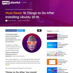 10 Things to Do After Installing Ubuntu 20.10