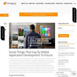 Great Things That may fly Mobile Application Development To Future -