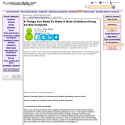 8 Things You Need To Make A Note Of Before Hiring An Seo Company