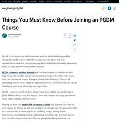 Things You Must Know Before Joining an PGDM Course