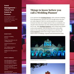 Things to know before you call a Wedding Planner