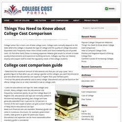 Things You Need to Know about College Cost Comparison