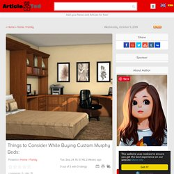 Things to Consider While Buying Custom Murphy Beds: Article
