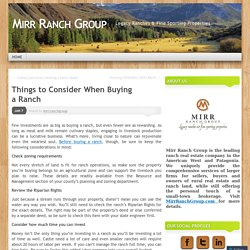 Things to Consider When Buying a Ranch