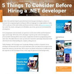5 Things To Consider Before Hiring a .NET developer