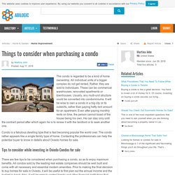 Things to consider when purchasing a condo