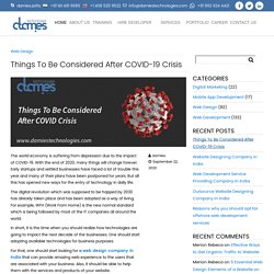 Things To Be Considered After COVID-19 Crisis