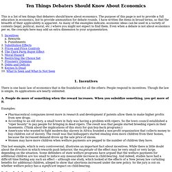 Ten Things Debaters Should Know About Economics