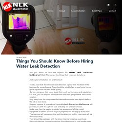 Things You Should Know Before Hiring Water Leak Detection