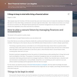 5 things to keep in mind while hiring a financial advisor