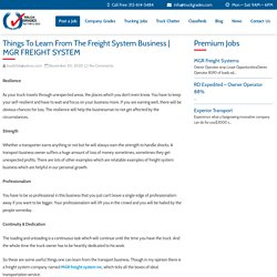 Things To Learn From The Freight System Business