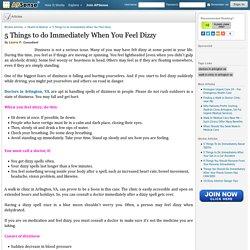5 Things to do Immediately When You Feel Dizzy