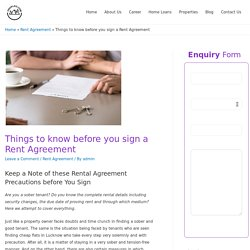 Things to know before you sign a Rent Agreement -