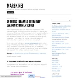 26 Things I Learned in the Deep Learning Summer School