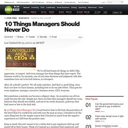 10 Things Managers Should Never Do | BNET