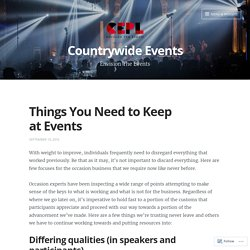 Things You Need to Keep at Events – Countrywide Events