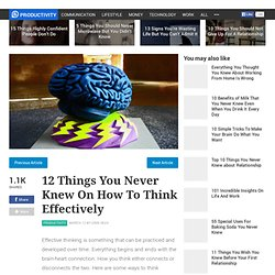 12 Things You Never Knew On How To Think Effectively
