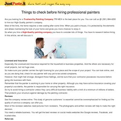 Things to check before hiring professional painters