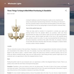 Three Things To Keep In Mind When Purchasing A Chandelier