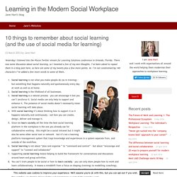 10 things to remember about social learning (and the use of social media for learning)