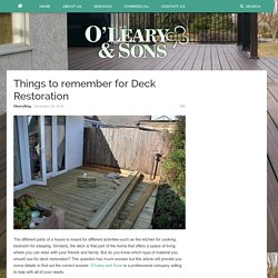 Things to remember for Deck Restoration – Oleary and Sons
