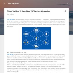 Things You Need To Know About VoIP Services-Introduction