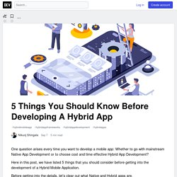 5 Things You Should Know Before Developing A Hybrid App - DEV