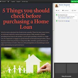 5 Things you should check before purchasing a Home Loan