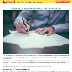 Things to Take Care When Taking GMAT Practice Test