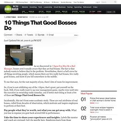 10 Things That Good Bosses Do