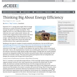 Thinking Big About Energy Efficiency