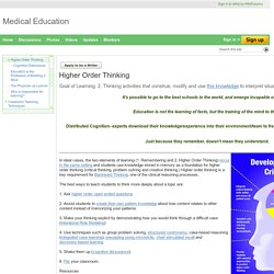 Higher Order Thinking - Medical Education