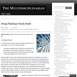Design Thinking's Timely Death