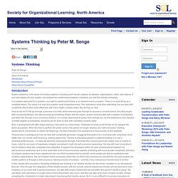 Systems Thinking by Peter M. Senge - Society for Organizational Learning North America Inc.