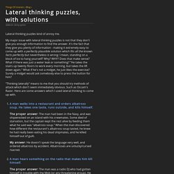 Lateral thinking puzzles, with solutions @ Things Of Interest