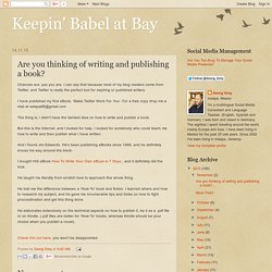 Are you thinking of writing and publishing a book?