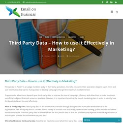 Third-Party data – How to use it effectively in marketing?