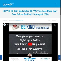 This Year, More than Ever Before, Be Kind - COVID-19 Daily Update for GO-VA