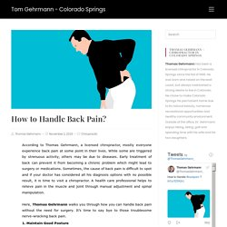 Learn How to Handle Back Pain