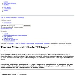 "Thomas More, extraits de ""L'Utopie"""