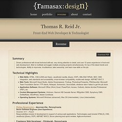 thomas r reid jr pittsburgh front end web developer resume
