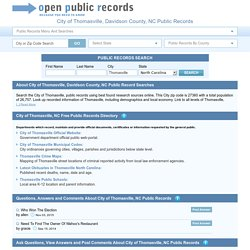 Thomasville, NC Free Public Records