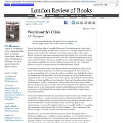 E.P. Thompson reviews 'Wordsworth and Coleridge' by Nicholas Roe · LRB 8 December 1988