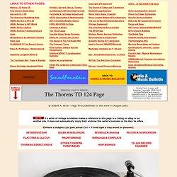 Thorens TD 124 / TD124 Mk2 and TD-224 Legendary Vintage Turntables