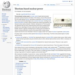 Thorium-based nuclear power