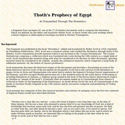 Thoth's Prophecy of Egypt -
