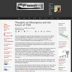 Thoughts on SMcongress and the future of ITSM