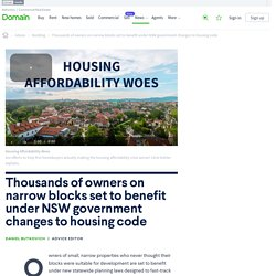 Thousands of owners on narrow blocks set to benefit under NSW government changes to housing code