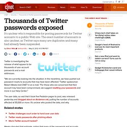 Thousands of Twitter passwords exposed | Security & Privacy