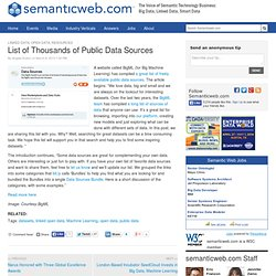 List of Thousands of Public Data Sources